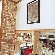 セリアレンガ風リメイクシート/キッチンカウンターの上/旦那が作った/Kitchen…などのインテリア実例