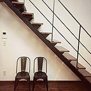 Lounge/インダストリアル/アイアン椅子/アイアン階段/吊り階段…などのインテリア実例