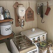 革小物/ハンドメイド/アンティーク/コーヒーミル/スケール/琺瑯缶…などのインテリア実例