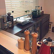 デロンギのケトル/無印良品/水槽/電話機/ニトリ/My Shelf…などのインテリア実例