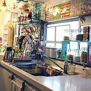 海辺のレストラン風/セリア同好会/地中海に憧れる/中古住宅/Kitchen…などのインテリア実例