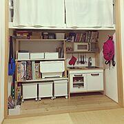 ニトリ/DUKTIG/IKEAままごとキッチン/ままごとキッチン/押入れ/畳の部屋…などのインテリア実例