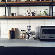 コーヒー/モルタルキッチン/アイアン/カフェ風/Kitchen…などのインテリア実例
