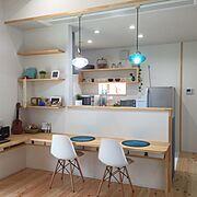 カウンター下収納/カウンターの高さはこだわりの68㎝/キッチンカウンター/Kitchen…などのインテリア実例