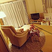 一人用ソファー/テディベア/はんどめいど/夜のリラックスタイム/和室をリビングに!/和室…などのインテリア実例