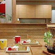ねこ/背面収納/カウンターキッチン/手ぬぐい/無印良品/ハリオV60…などのインテリア実例
