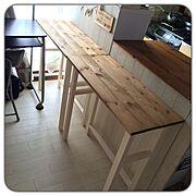 ナチュラル/ダイニングテーブルDIY/社宅/狭いキッチン/カフェ風/DIY…などのインテリア実例