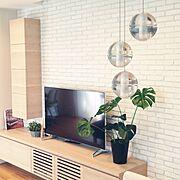 観葉植物/4Kテレビ/モンステラ/ブリックレンガ/Lounge…などのインテリア実例