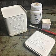 サビサビ/セリアの缶/コーヒー缶/サビ加工/男前インテリア/汚し塗装…などのインテリア実例