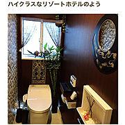 観葉植物/RoomClip mag/壁掛けミラー/バリ雑貨/大理石調の床/アジアンリゾート…などのインテリア実例