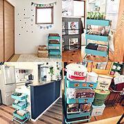オムツ収納/カゴ収納/オムツ入れ/おもちゃ箱/こどものもの/キッチン収納…などのインテリア実例