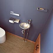 サンワカンパニー/TOTO ネオレスト/ネイビー/壁紙/ステンレス/手洗い…などのインテリア実例