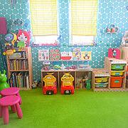 お気に入りの空間/handmade/壁面ディスプレイ/ぬいぐるみ収納/子どもと暮らす…などのインテリア実例