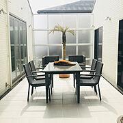 シンプルモダン/テラス/猫のいる風景/ねこと暮らす。/暮らしの一コマ/ガーデンテーブル&チェア…などのインテリア実例