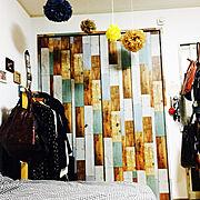ニトリ/壁紙シート/DIY/一人暮らし/Bedroom…などのインテリア実例