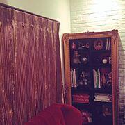 ベルベットカーテン/ベルベットソファ/カーテン/本棚/雑貨/My Shelf…などのインテリア実例