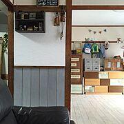 クッションフロア/無印良品トタンボックス/ワードローブDIY/カラボリメイク/子供部屋…などのインテリア実例