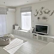 Lounge/ホワイト/ミニマム/ホワイトインテリア/シンプル/グレーインテリア…などのインテリア実例