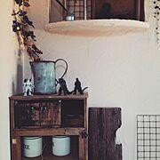 ゴシラ/漆喰壁/古道具/手作り/DIY/さびさび…などのインテリア実例