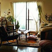 ミックスインテリア/モロッコラグ/植物のある暮らし/賃貸/狭い部屋/一人暮らし…などのインテリア実例