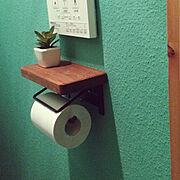 ブラウン/グリーンの壁/オガファーザー/新入り/アイアン+木/Bathroom…などのインテリア実例