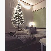 クリスマス/トーカイタペストリー/ジュエリーライト/100球/ワイヤーライト/息子部屋…などのインテリア実例
