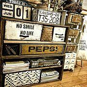 ペプシの木箱/りんご箱/ナチュラルも好き/プチプラ/男前/Instagramやってます♥…などのインテリア実例