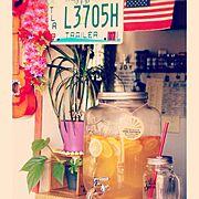 メイソンジャー/Drinkdispenser/賃貸/BEACH♥︎/Hawaii♡…などのインテリア実例