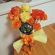 バラの花束/バラ/結婚記念日♡/旦那とも暮らしている/夢のマイホーム/I ♡NEWS…などのインテリア実例