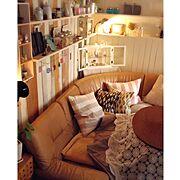 カフェ風/salut!/おはようございます♡/こたつ/DIY棚/板壁…などのインテリア実例