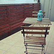 横張り/基礎ブロック/フェンス/DIY/タイルデッキ/カフェ風…などのインテリア実例