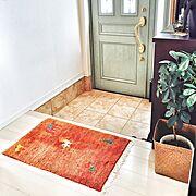 観葉植物/ギャッベ/テラコッタ風/玄関ドア/Entrance…などのインテリア実例
