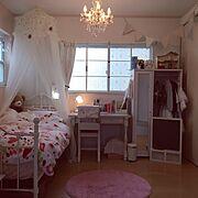 漆喰DIY/セリア/ナチュラルフレンチ/照明/salut!/子供部屋…などのインテリア実例