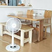 熱中症には気をつけよう‼️/暑い/ベンチ DIY/山善さんの扇風機/白×natural…などのインテリア実例