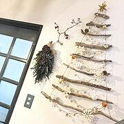 流木/クリスマスツリー/流木ツリー/クリスマス/スワッグ/Unokiさんのスワッグ…などのインテリア実例