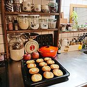夜のお菓子作り/お菓子作り/WECK/調味料棚/ラブリコ/GREENのある暮らし…などのインテリア実例