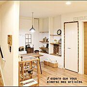 夜/間接照明/見せる収納/時計/漏斗ライト/ガラスパンケース…などのインテリア実例