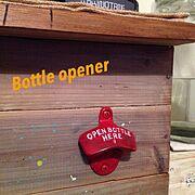 カウンター/古材風ペイント/DIY/ボトルオープナー/男前/男前計画化…などのインテリア実例