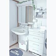 Bathroom/壁面収納/収納/カインズホーム/ベルメゾンのチェスト/フェイクグリーン…などのインテリア実例