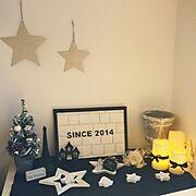 モルタル造形/My Shelf/セリア/ミニクリスマスツリー/ニトリ/星…などのインテリア実例