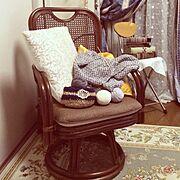 セリア/レース編み/手作り/麻紐編み籠/ハンドメイド/Lounge…などのインテリア実例