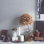 キャンドル/ドライフラワー/一人暮らし/多肉植物/100均/IKEA…などのインテリア実例