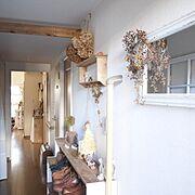DIY棚/なんちゃって梁/ドライフラワー/kokkomachaちゃん/Entrance…などのインテリア実例
