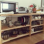 DIY/こどものお片づけ/収納/食器棚ペイント 茶色→ホワイトへ/冷蔵庫リメイク シルバー→ホワイトへ…などに関連する他の写真