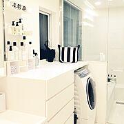 白黒サニタリー/モノトーン/白黒/白黒インテリア/Bathroom…などのインテリア実例