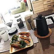 山善電気ケトル/IKEA♡/新商品買ったよ!/モーニングコーヒー/IKEAコーヒーメーカー/IKEAコーヒー…などのインテリア実例