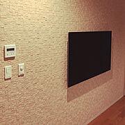 エコカラットの壁/壁掛けテレビ/エコカラット/リビング…などのインテリア実例
