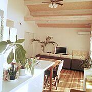 オープンキッチン/吹き抜け ダイニング/アロハ部/吹き抜け/南国風/HAWAII…などのインテリア実例