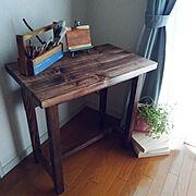 作業机/作業スペース/DIY女子/いなざうるす屋さん/道具箱DIY/男前もナチュラルもどっちも好き…などのインテリア実例