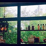 カフェインテリア/cafeが大好き/ステンドグラス/窓からの景色/窓辺のインテリア/うちじゃない…などのインテリア実例
